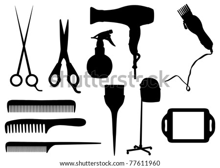 Barber clippers silhouette isolated silhouettes of