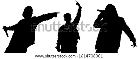 Isolated silhouettes of rap singers with microphone performing live on stage.Black silhouette of hip hop star with mic in hand cut out on white background.Rapper singing on scene on night club party ストックフォト ©