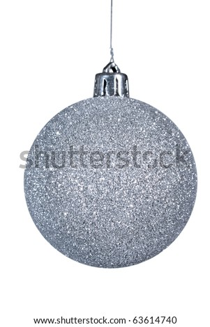 Isolated silver christmas ball on white.