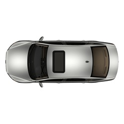 isolated simple  and modern metallic sedan car from top view on white background that easily removable.