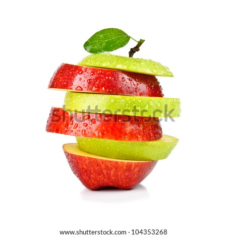 isolated sliced red and green apple