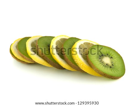 Isolated slices of lemon and kiwi (white background). Fresh diet fruit. Healthy fruit with vitamins.