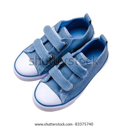 isolated small blue sport shoes for children