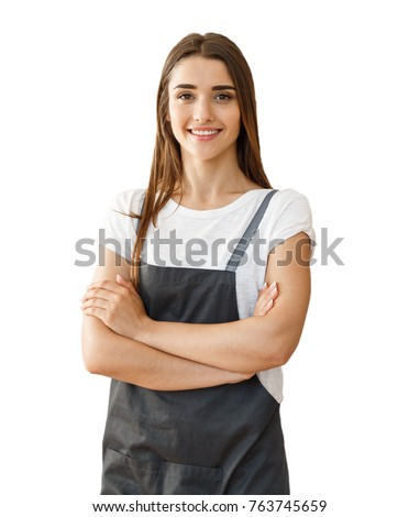 Isolated small business lady owner or barista with apron on white background.