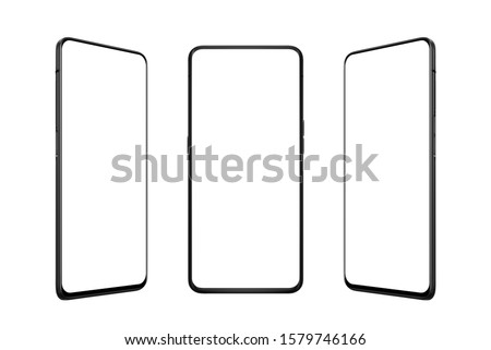 Isolated smart phone in three positions. Front, left and right side. Isolated screen for mockup, app or web site promotion. Modern mobile phone with thin edges.
