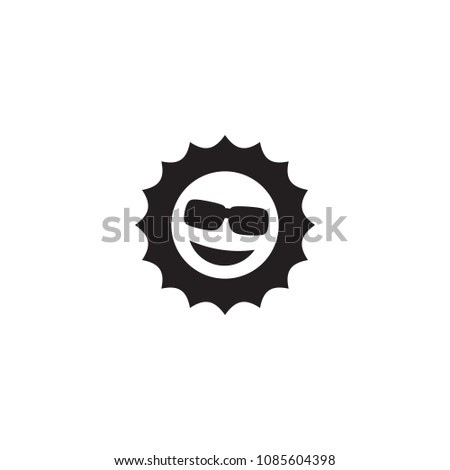 Isolated smile sun icon symbol on clean background.  sunny element in trendy style.
