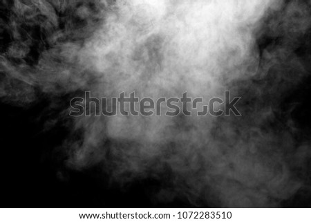 isolated smoke, abstract powder, water spray on black background. #1072283510