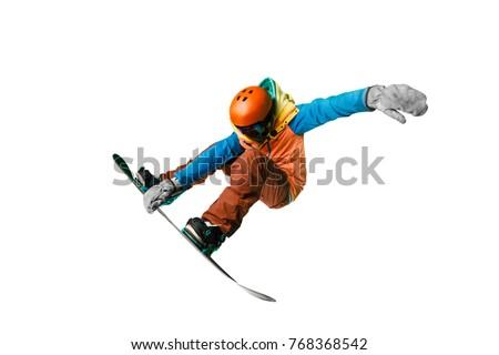 Isolated Snowboarding Photo