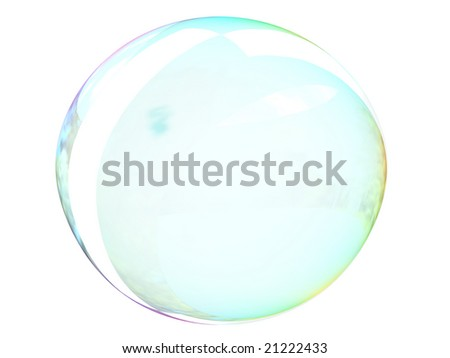 Isolated soap bubble on white.