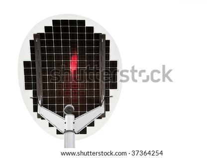 Isolated solar panel with red light