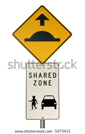Isolated speed hump sign an pedestrian Area Zone sign and