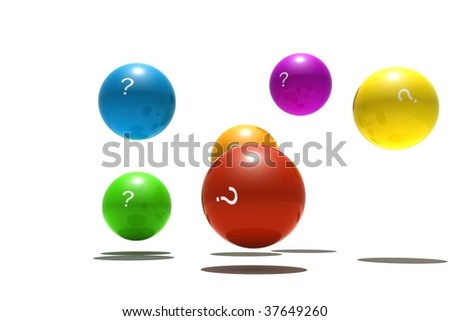 isolated spheres with question-mark symbol - 3d render #37649260