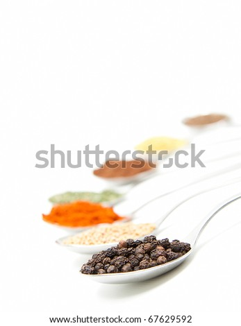 isolated spoons with different spice - stock photo