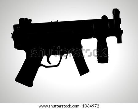 Isolated spot silhouette of HK machine pistol