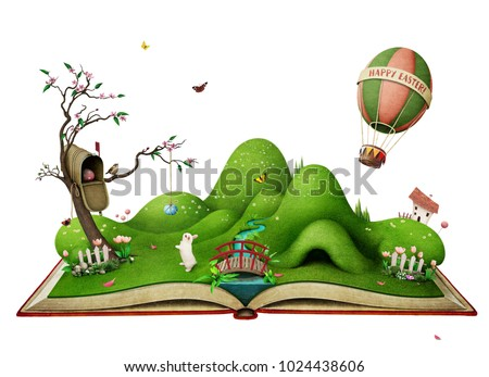 Isolated spring illustration for Easter holiday greeting card or  poster   with  green landscape on the book