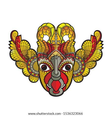 isolated sri lankan traditional devil dancing mask Stok fotoğraf ©