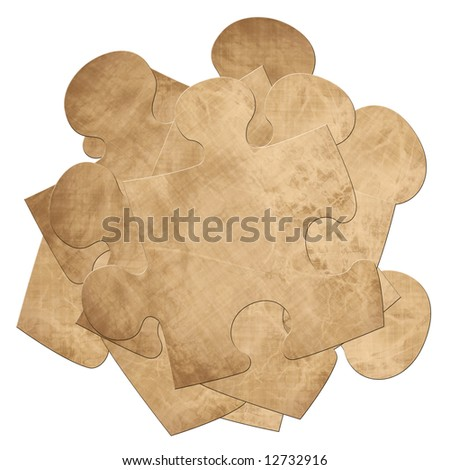 isolated stack of puzzle pieces on a white background