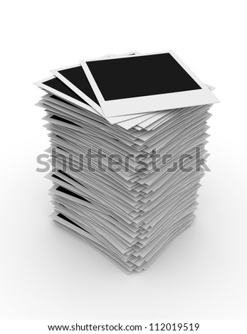 Isolated Stacked Photo Frames on White Background