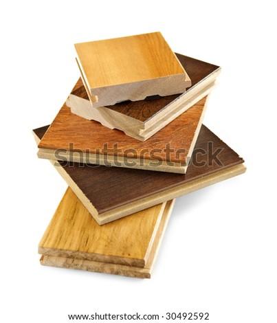 Isolated stacked prefinished hardwood flooring samples