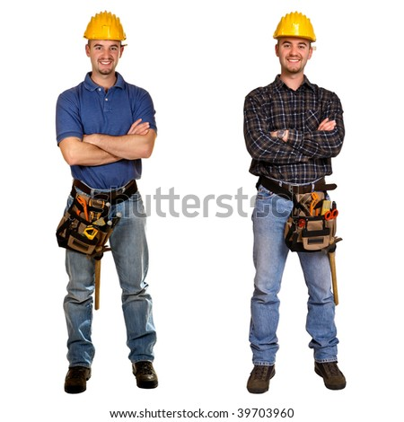 Isolated standing young worker on white background. Double version collection