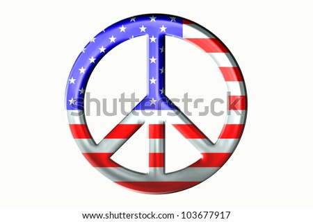 Isolated stars and stripes peace symbol with a metal, or chrome type look./ Metallic Look, Stars and Stripes Peace Sign / Great looking emblem, that always gets the point across.