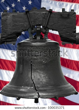 Isolated statue of the authentic Liberty Bell, Philadelphia, PA. The United States flag was digitally added to the background.