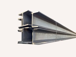 Isolated steel beams on white background