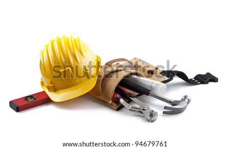isolated still life with constructor tools
