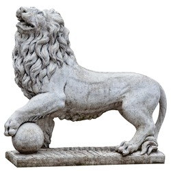 Isolated stone lion from Topkapi Palace, Istanbul, Turkey. Clipping Patch included.