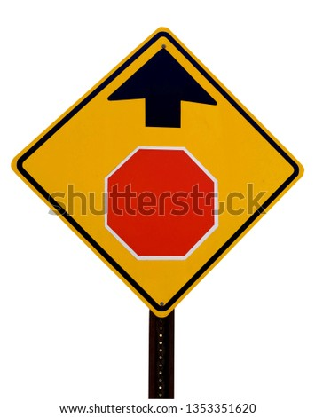 Isolated STOP AHEAD sign. #1353351620