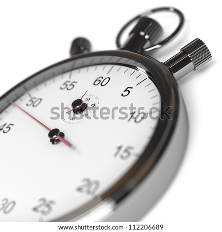 Isolated stopwatch on white. De-focused image. Computer generated image.