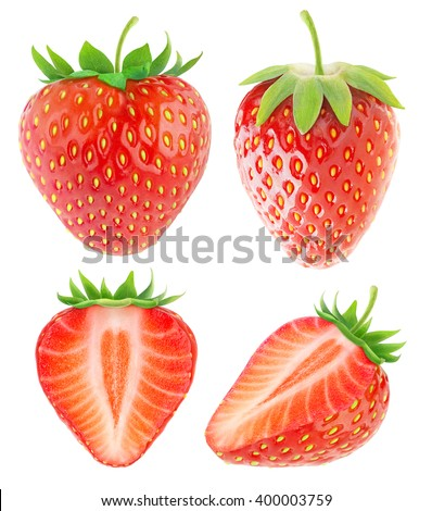Isolated strawberries. Collection of whole and cut strawberry fruits isolated on white background with clipping path #400003759