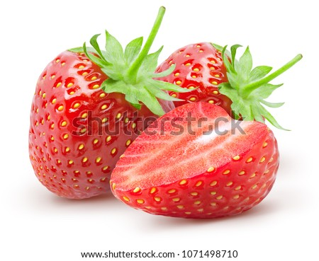 Isolated strawberries. Two whole strawberry fruits and half isolated on white background, with clipping path