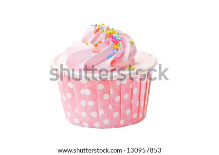Isolated Strawberry Cup Cake