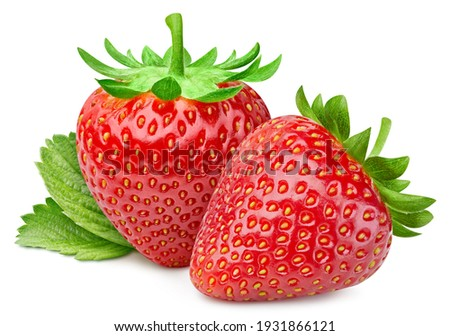 Isolated strawberry with leaf. Whole strawberry fruits and half strawberry on white background with clipping path. High End Retouching