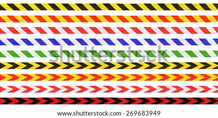 Isolated Striped and Arrows Barrier Tape Line Collection - Yellow/Black/Red/White/Blue/Green