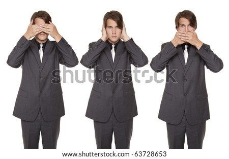 Isolated studio shot of a businessman in the See No Eavil, Hear No Evil, Speak No Evil poses.