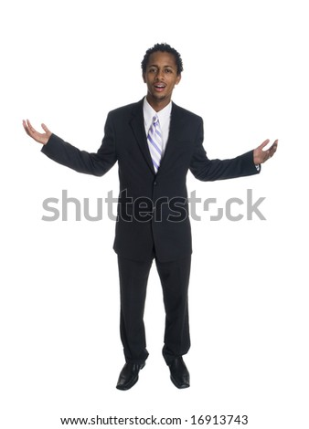 Isolated studio shot of a businessman raising his arms in disbelief at while looking at the camera.