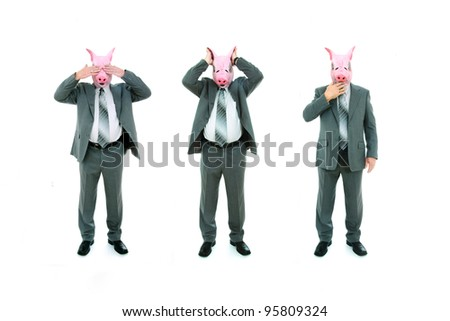 Isolated studio shot of a businessmen with pig mask doing see no evil, hear no evil, speak no evil poses.