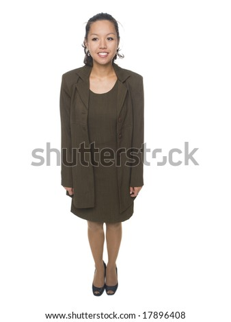 Isolated studio shot of a businesswoman facing forwards, but looking slightly off camera with her eyes.