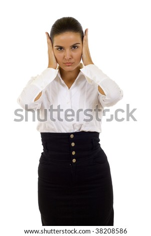 Isolated studio shot of a businesswoman in the Hear No Evil pose.