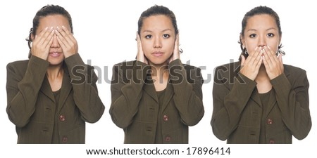 Isolated studio shot of a businesswoman in the See No Evil, Hear No Evil, Speak No Evil poses.