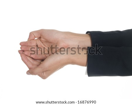 Isolated studio shot of a businesswoman with her hands cupped.