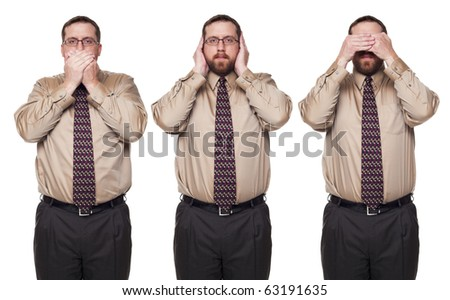 Isolated studio shot of a Caucasian businessman in the See No Evil, Hear No Evil, Speak No Evil poses.