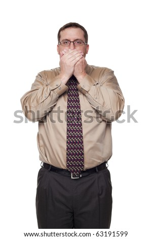 Isolated studio shot of a Caucasian businessman in the Speak No Evil pose. - stock photo