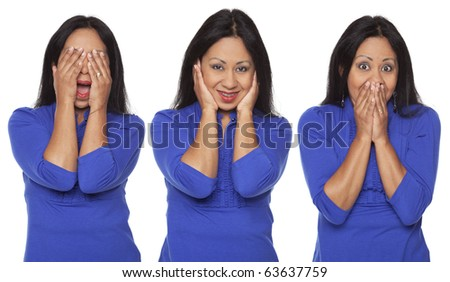 Isolated studio shot of a Latina woman in the See No Evil, Hear No Evil, Speak No Evil poses.