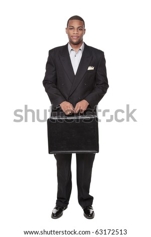 Isolated studio shot of an African American businessman holding a nice briefcase.
