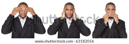 Isolated studio shot of an African American businessman in the See No Evil, Hear No Evil, Speak No Evil poses.