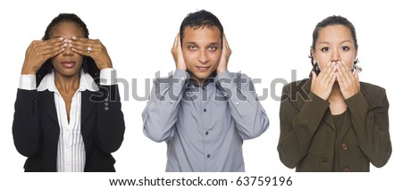 Isolated studio shot of businesspeople in the See No Evil, Hear No Evil, Speak No Evil poses.