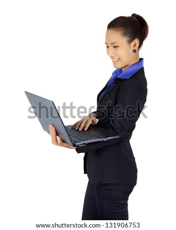 Isolated success young business woman with laptop computer on white
